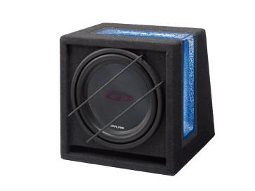 Žemų dažnių garsiakalbis dėžėje Alpine SBG-1244BR 30cm 650W 4 Ohm automobiliui su portu fazėsinvertorium