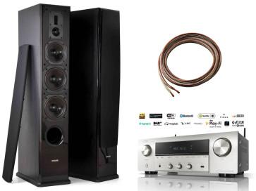 Stereo sistema Denon DRA-800H stereo 2.1 garso stiprintuvas resyveris 2x145W tinklo grotuvas HDMI WiFi su Dynavoice Definition DF-8 garso kolonėlėm grindinėm 560W