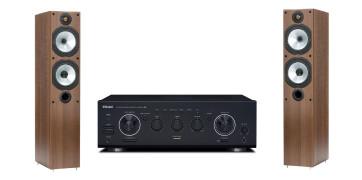Namų kino sistema TEAC A-R630MKII inetgruotas stereo stiprintuvas, Monitor Audio MR4 ant grindų statomos garso kolonėlės | Nemokamas pristatymas