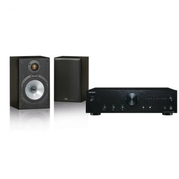 Namų kino sistema Onkyo A-9010 inetgruotas stereo stiprintuvas, Monitor Audio MR1 garso kolonėlės | Nemokamas pristatymas