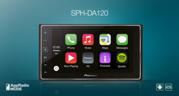 "Automagnetola Pioneer SPH-DA120 6.2"" lietimui jautrus ekranas GPS Bluetooth Apple CarPlay AppRadio"