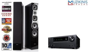 Stereo sistema Onkyo TX-NR686 garso stiprintuvas 7x240W su grindinėm kolonėlėm Dynavoice Challenger M-65 speciali kaina | nemokamas pristatymas