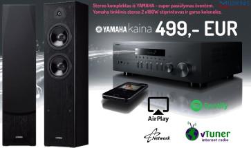 Stereo sistemaYamaha R-N301 tinklinis grotuvas stereo stiprintuvas resyveris 2x180W su garso kolonėlėm Yamaha NS-F51 2 vnt. nemokamas pristatymas