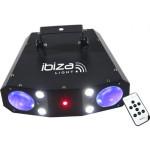 IBIZA Light COMBO-3IN1  ŠV. EFEKTAS MOONFLOWER + STROBE + LASER LED efektai:  56 x 5mm LEDs (12x R; 12x G; 24x B; 8x W) | Nemokamas Pristatymas