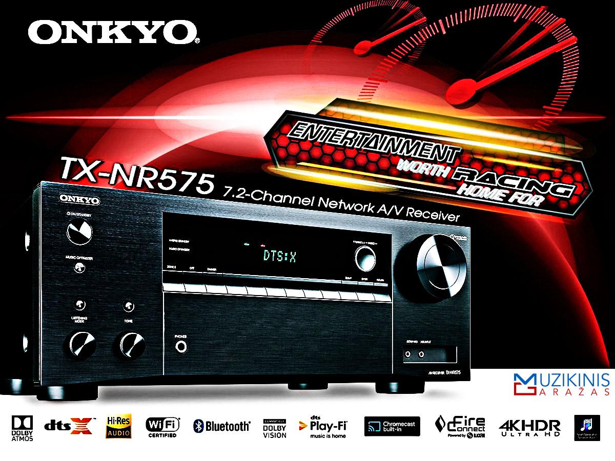 Onkyo TX-NR575 7.2 namų kino stiprintuvas resyveris 7x170W  Bluetooth  WiFi | nemokamas pristatymas iš oficialaus Onkyo dylerio audiovideo.lt