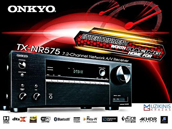 Onkyo TX-NR575 7.2 namų kino stiprintuvas resyveris 7x170W  Bluetooth  WiFi   nemokamas pristatymas iš oficialaus Onkyo dylerio audiovideo.lt