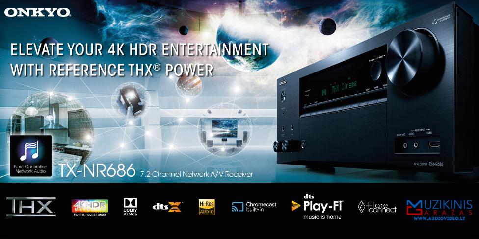 Naujiena | pirmas žvilgsnis - Onkyo TX-NR686 7.2 namų kino stiprintuvas resyveris Bluetooth WiFi 7x240W AirPlay Spotify® Chromecast DTS Play-Fi® iPhone Android | nemokamas pristatymas